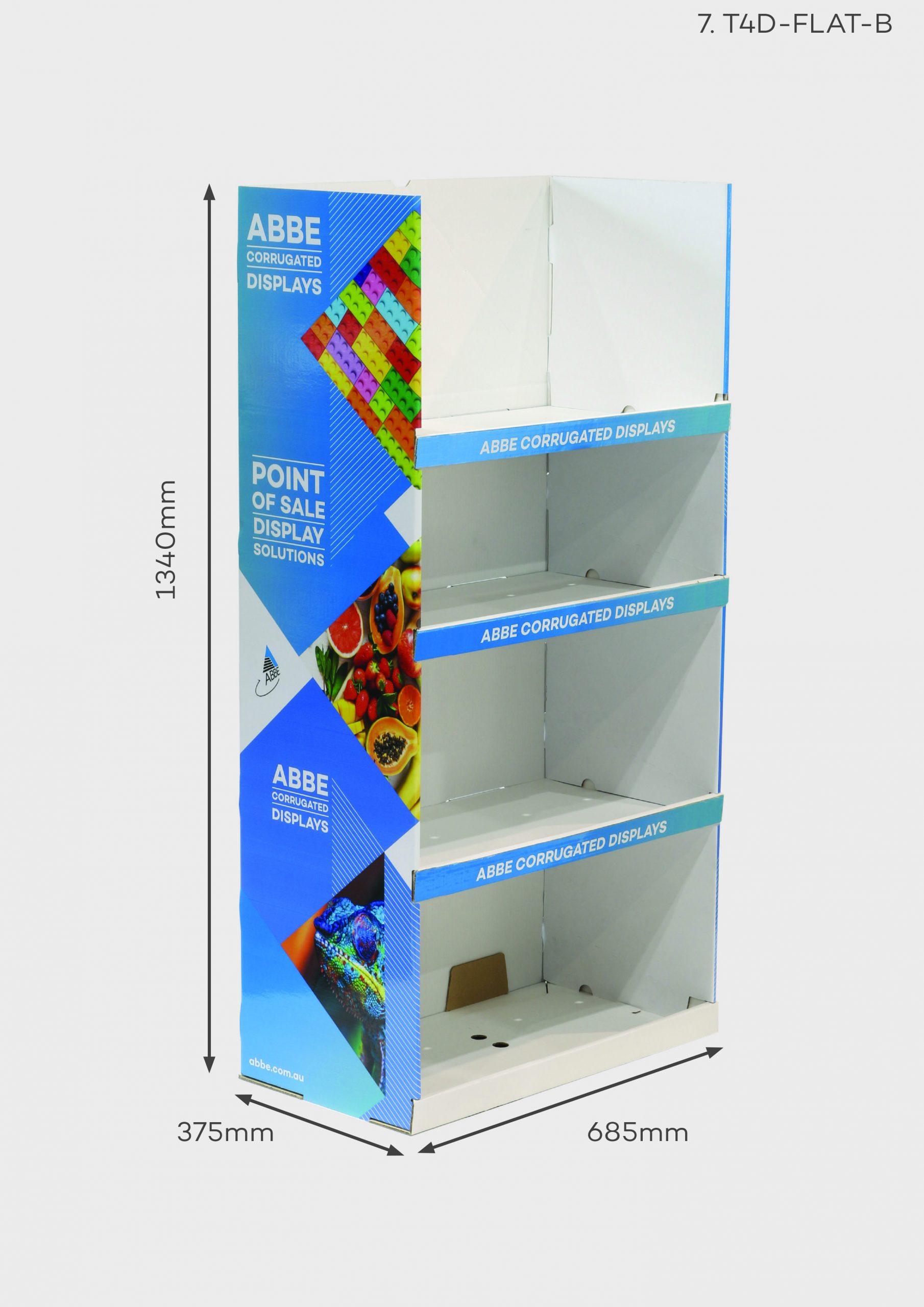 4 Shelf Large-Wide Display (Ref T4D-FLAT-B)